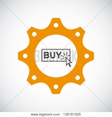 Gear design with buy button icon inside. Colorfull and flat illustration.