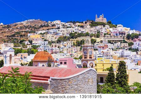 Colors of Greece - vivid sunny Syros , view of Ano Syros village