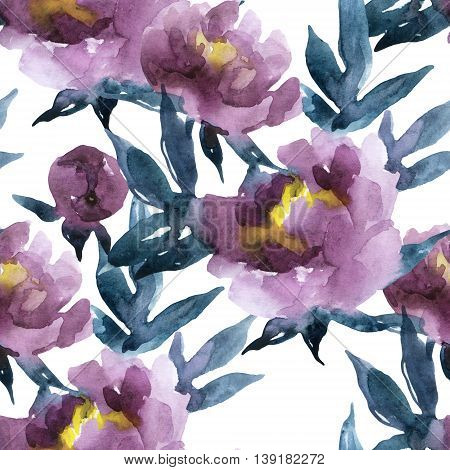 Peony seamless pattern. Peonies on white background. Hand painted watercolor peonies illustration