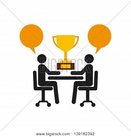 Businesspeople concept represented by pictogram bubble trophy icon. Isolated and flat illustration.