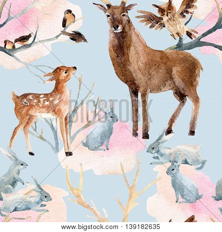 Winter forest seamless pattern. Deer with fawn rabbits birds in winter. Hand painted illustration on grey background