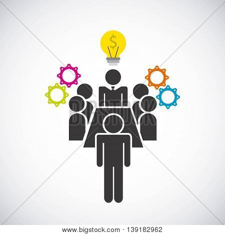 Businesspeople concept represented by bulb pictogram gears icon. Isolated and flat illustration.
