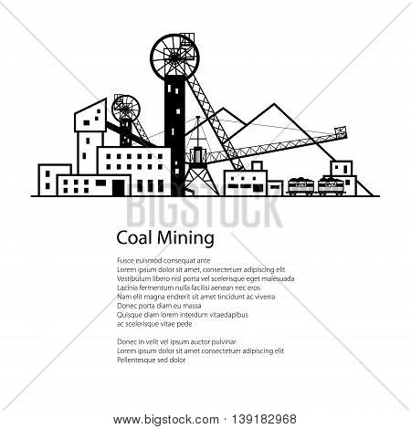 Coal Mine, Complex Industrial Facilities with Spoil Tip and with Rail Cars, Coal Industry, Poster Brochure Flyer Design , Vector Illustration