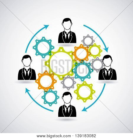 Businesspeople concept represented by male avatar gears icon. Isolated and flat illustration.