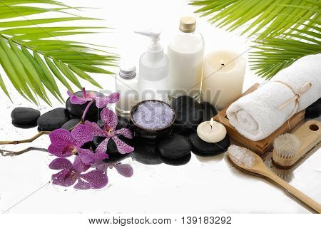 Spa Background with stacked stones with spa set