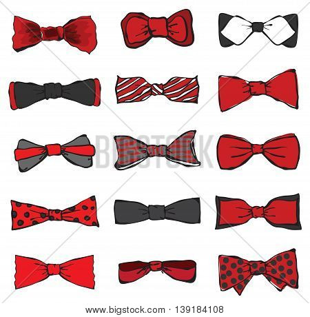 Vector style bow ties set black, white and red colors