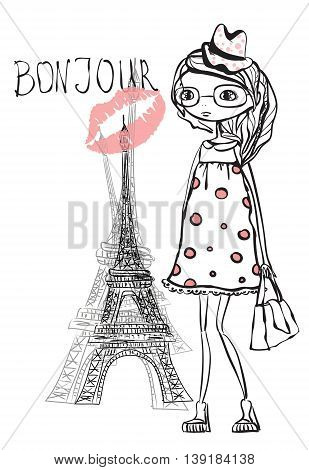 Fashion vector girl in Paris, trendy background