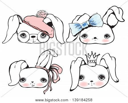 Set of cute vector different bunnies avatars