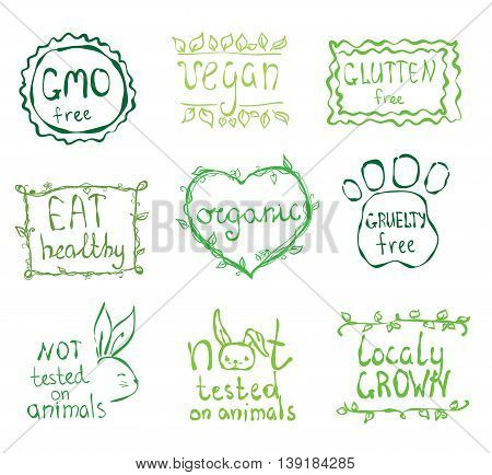 Gmo free, not tested on animals, eat local, healthy food, eco, organic bio, gluten free, vegetarian, vegan labels. Blurred rural background.Vector restaurant menu logo, badges templates