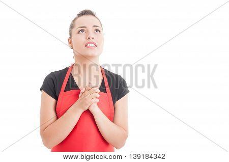 Supermarket Seller Looking Worried And Praying