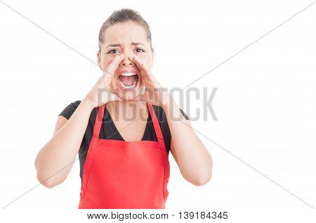 Angry Hypermarket Seller Screaming