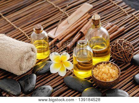 Spa setting with frangipani ,towel