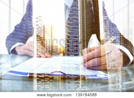 Businessman Questionnaire Cityscape Office Working Concept