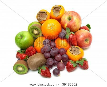 fresh juicy fruits isolated on a white background. top view - horizontal photo.