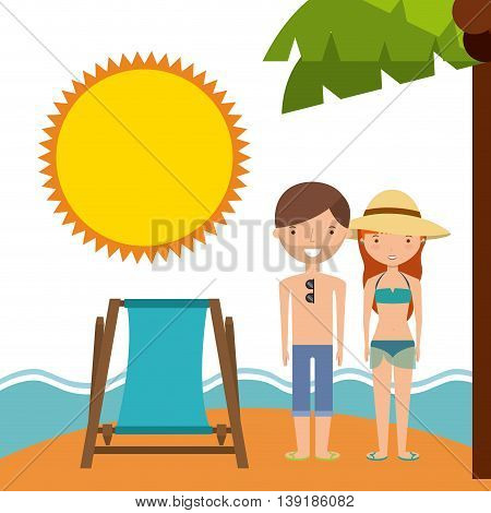 Summer and vacation concept represented by chair couple cartoon sea and sun icon. Colorfull and flat illustration.