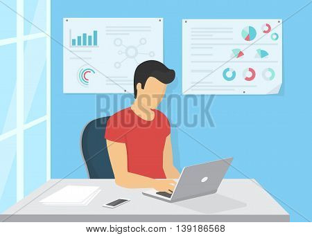 Young man sitting in the office at work desk and working with laptop. Flat modern design of freelance, programing, writing and remote work. Flat llustration of the man typing a letter using laptop.