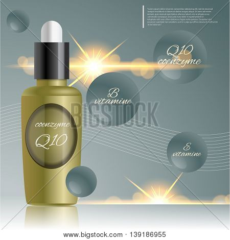 Coenzyme Q10  Bottle Skin Care Moisturizing Treatment Vial Design Protection Solution Vector Illustr