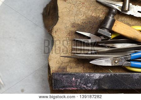 Tools Of Jewellery. Jewelry Workplace On Wooden Background. Top View.