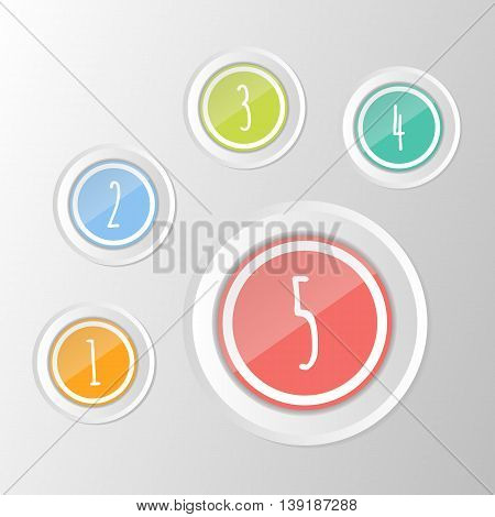 vector set of colorful isolated symbols: 1 2 3 4 5 circle buttons