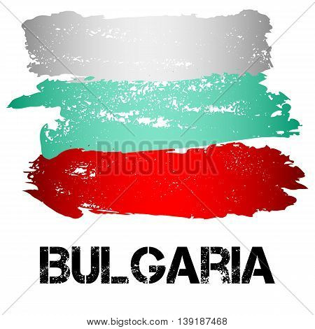 Flag of Bulgaria from brush strokes in grunge style isolated on white background. Country in Eastern Europe. Vector illustration