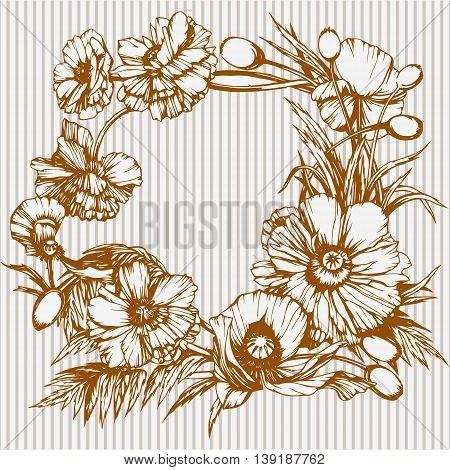 Wreath of poppies, round floral frame, hand drawn one-colored illustration