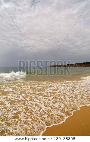 Beautiful Beach On The Atlantic Ocean, Algarve, Portugal