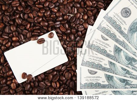 Dollars And Coffee Beans Background With Empty Card