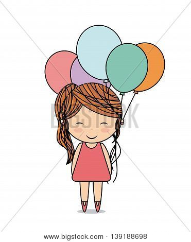 Kid concept represented by girl and balloons icon. Colorfull and flat illustration.