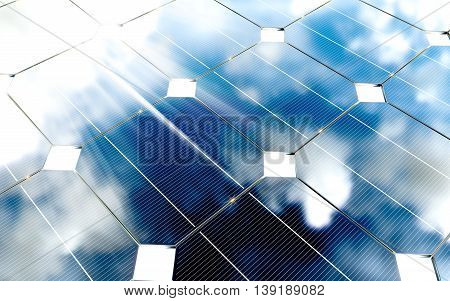 Blue photovoltaic panels with cloudy sky reflection. 3d rendering.