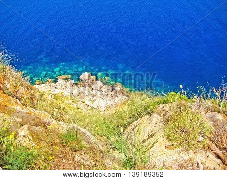 Northwest Majorca, Bay With Turquoise Water, Top View