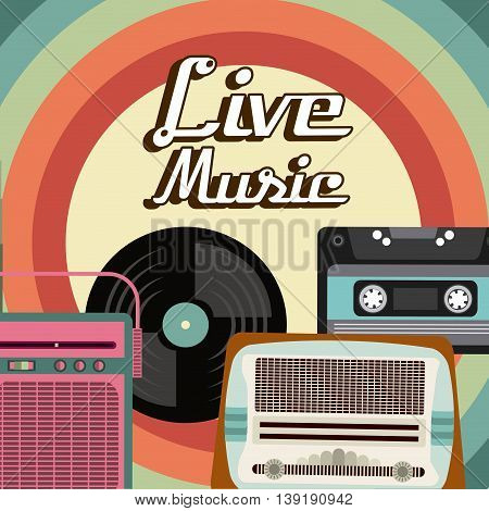 Retro and Music concept represented by cassette vinyl radio icon. Colorfull and vintage illustration.