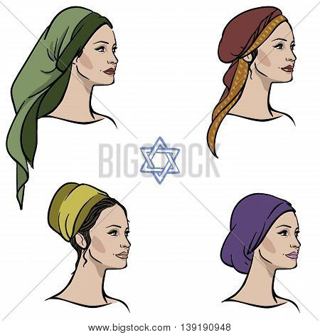 jewish religion woman in different headdress isolated fon