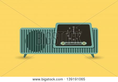 Retro and Music concept represented by radio icon. Colorfull and vintage illustration.
