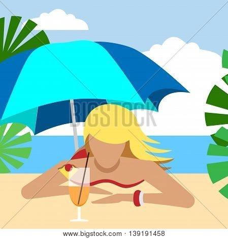 Hot girl on a beach under umbrella with cocktail. Vector illustration. Grouped for easy editing.