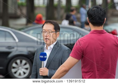 Washington D.c., Usa - June, 21 2016 - Kbs Television Live T At White House Building