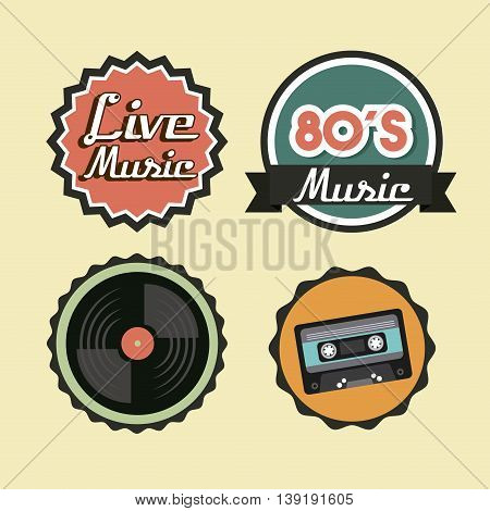 Retro and Music concept represented by cassette vinyl and seal stamp icon. Colorfull and vintage illustration.