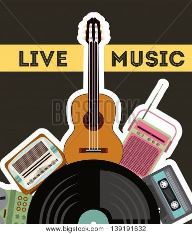 Retro and Music concept represented by cassette vinyl guitar radio gramaphone icon. Colorfull and vintage illustration.