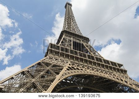 Eiffel tower. Paris France. View from below