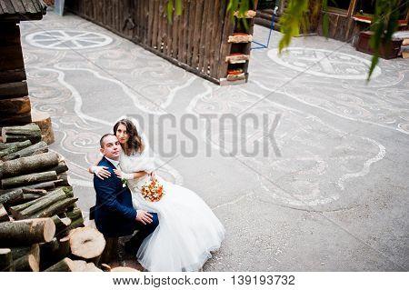 Wedding couple siitting background many stumps at wedding
