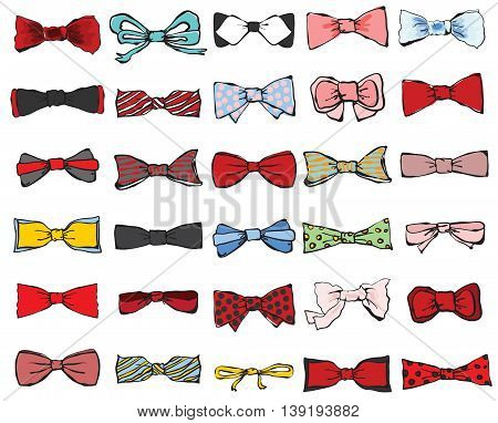 Big set of colorful tie-bows for real hipster