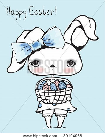 Cute rabbit with Easter eggs in basket Happy Easter