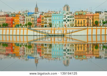 Seville panoramic cityscape with historical buildings, city skyline Sevilla, Spain.