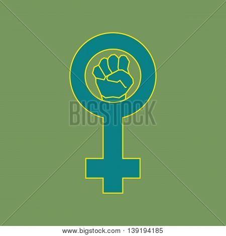 Green feminism symbol. Geometric simple line art