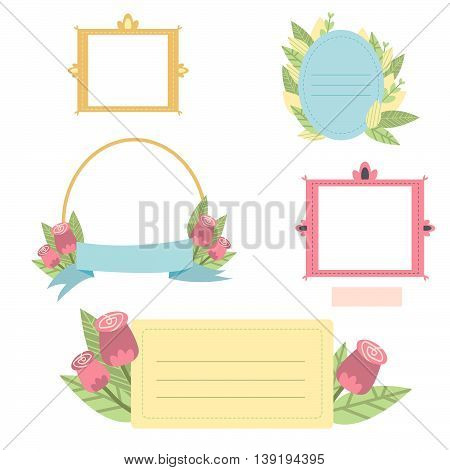Cute printable photo frames and journaling cards with leaves and flowers for your design. Scrapbook and journal stickers, to do lists, cards for beautiful summer memories.