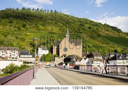 COCHEM GERMANY - SEPTEMBER 15 2010: Cochem cityscape with the Saint Remaclus's Church. Cochem is a small town with just over 5000 inhabitants in the Rhineland-Palatinate state in Germany.