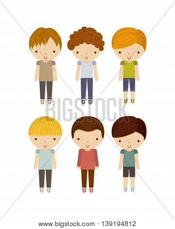 Little Kids and cute people concept represented by group of boys icon. Colorfull and isolated illustration.