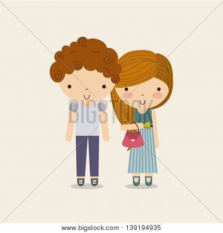 Little Kids and cute people concept represented by couple of boy and girl icon. Colorfull and Pastel background.