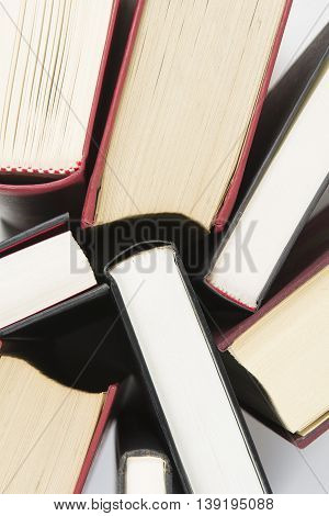 Used books with hard cover seen from above