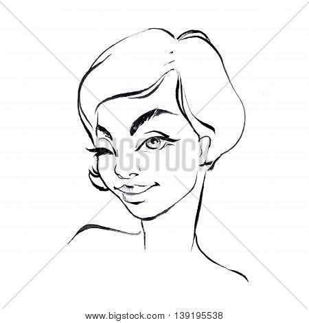 Girl. Black and white line sketch. Winking woman