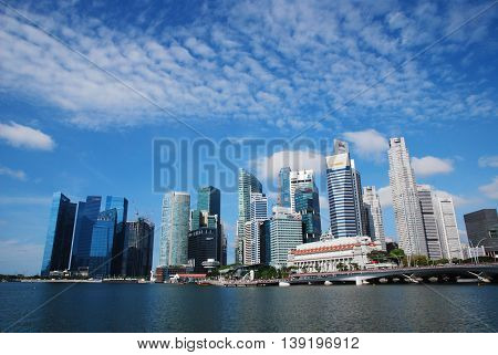 Singapore - July 16, 2016: The central business district and landmark of Singapore.